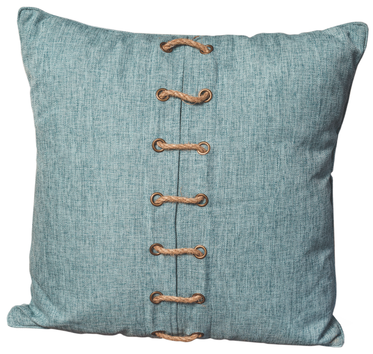 blue linen and rope pillow