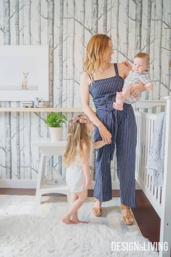 Katie Sullivan with her two kids in the nursery